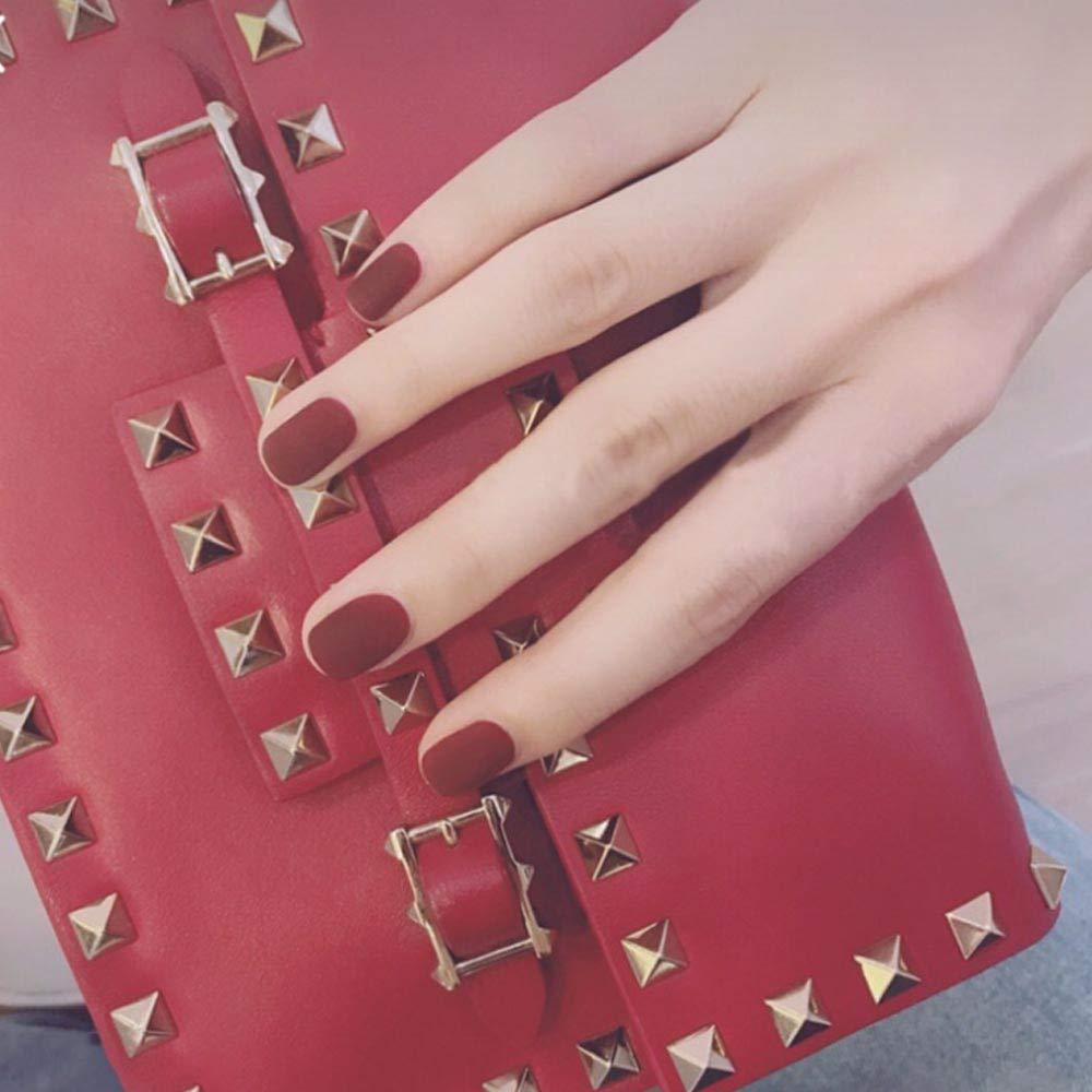 Poliphili 24Pcs Matte Short Square Pure Color Wear False Nails Press On Full Coverage Acrylic Fake Nails Tips (Red)