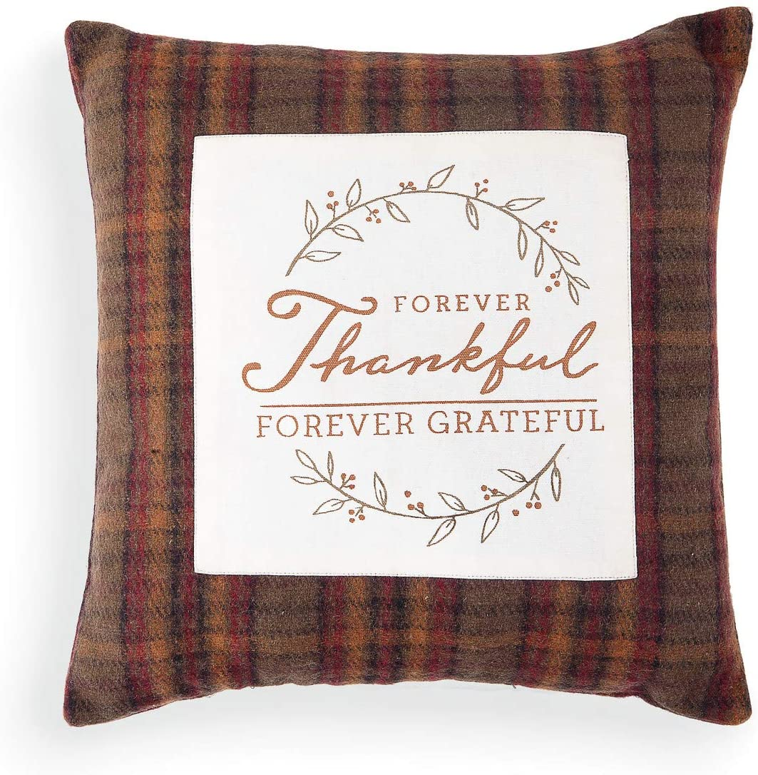 DEMDACO Forever Thankful Brown Plaid 16 x 16 Polyester Fabric Harvest Throw Pillow
