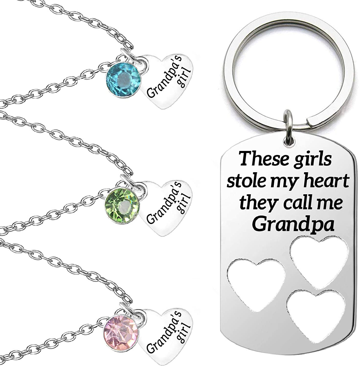 TISDA Father Daughter Necklace These Girls Stole My Heart They Call Me Daddy Grandpa Grandma Mommy Keychain Family Christmas Birthday Gift