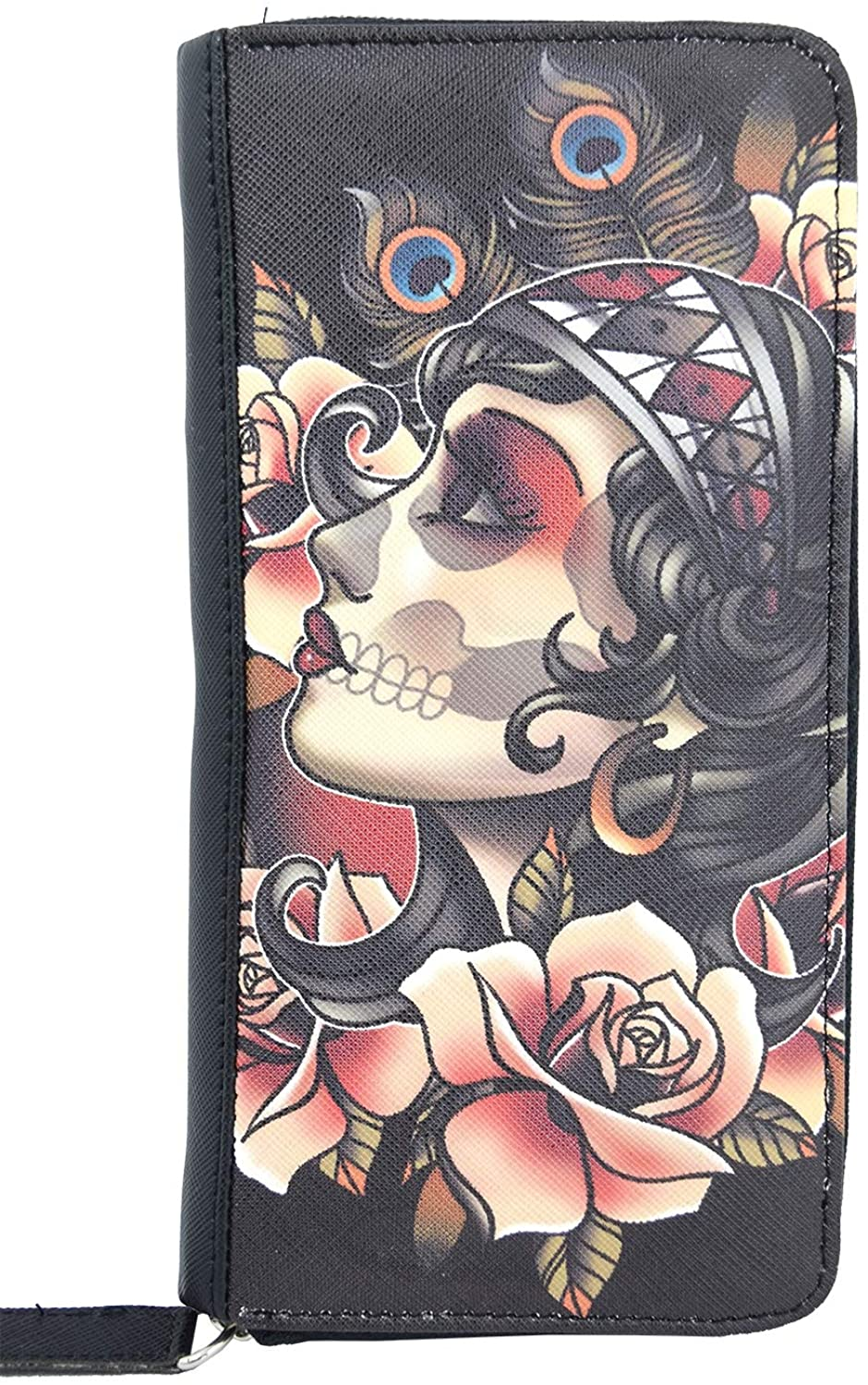 Liquorbrand Gypsy Rose Tattoo Art zip around clutch Wallet