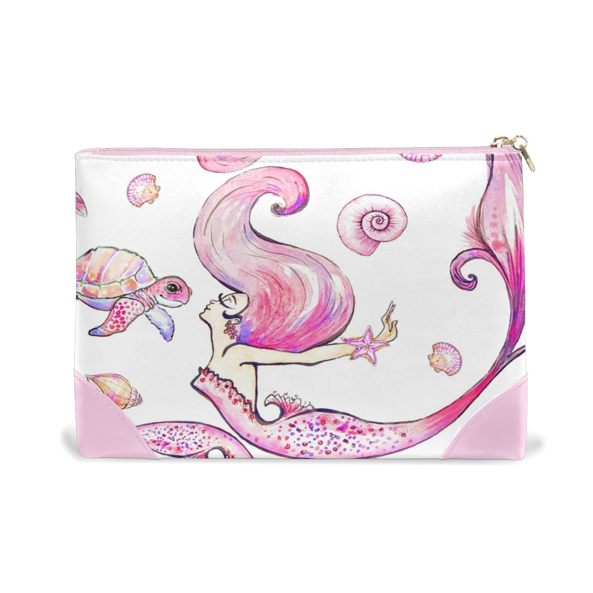 Women Makeup Bag Pink Mermaid Genuine Leather Zipper Cosmetics Pouch Lady Toiletry Bag