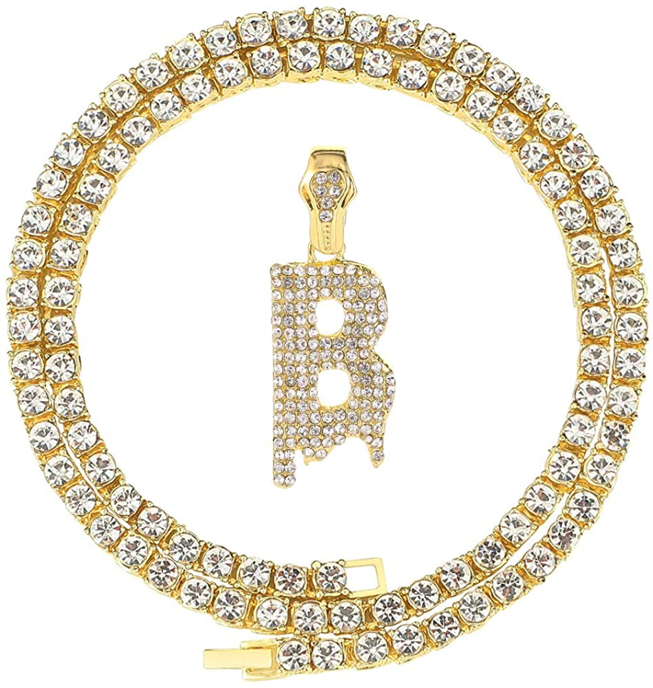 Unisex Style Hip Hop Iced Out Silver Gold Bling Diamond Dripping Initial Letter Pendant Chain Necklaces (A to Z)