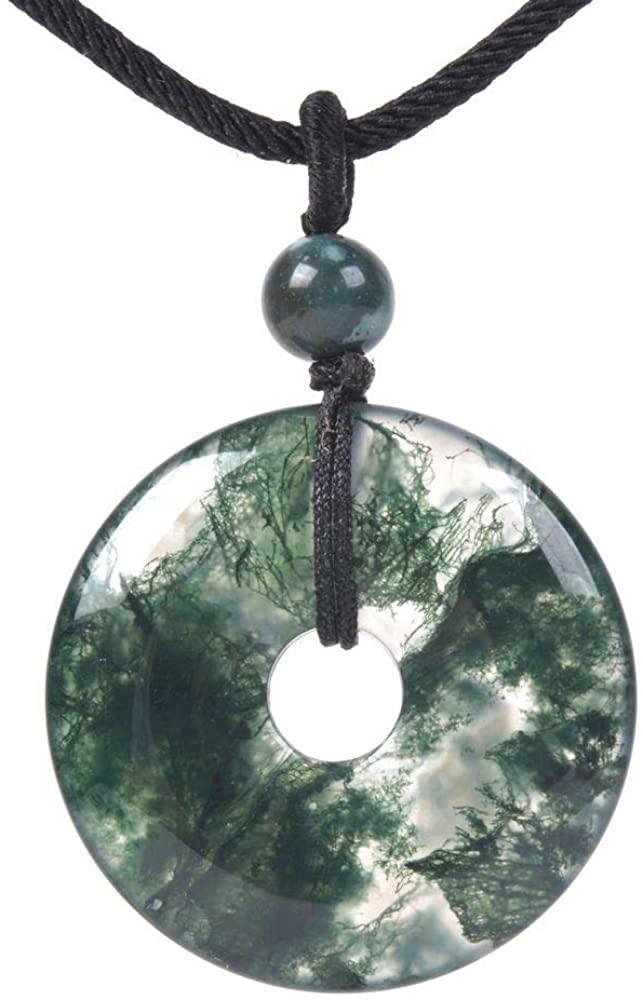 JUST IN STONES Gemstone 30mm Donut Beads Reiki Chakra Pendant Necklace Handmade Jewelry 22 Inch