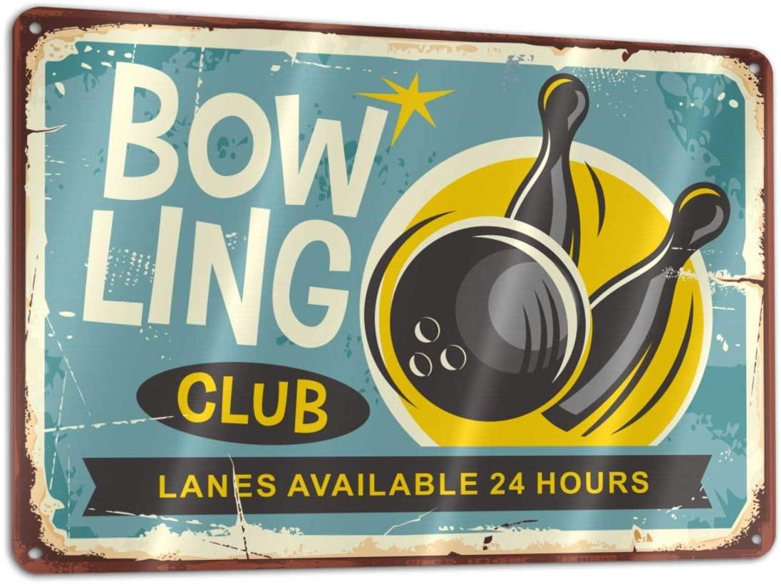 Bargburm Bowling Club Funny Sign Tin Art Wall Decor, Vintage Aluminum Retro Metal Sign, Iron Painting Vintage Decorative Signs, Coffe Wall Decoration