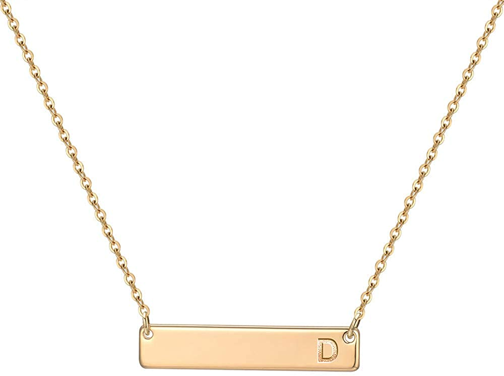 M MOOHAM Bar Initial Necklace for Women, 14K Gold Rose Gold Plated Stainless Steel Bar Necklace Personalized Engraved Name Horizontal Rectangle Bar Necklace