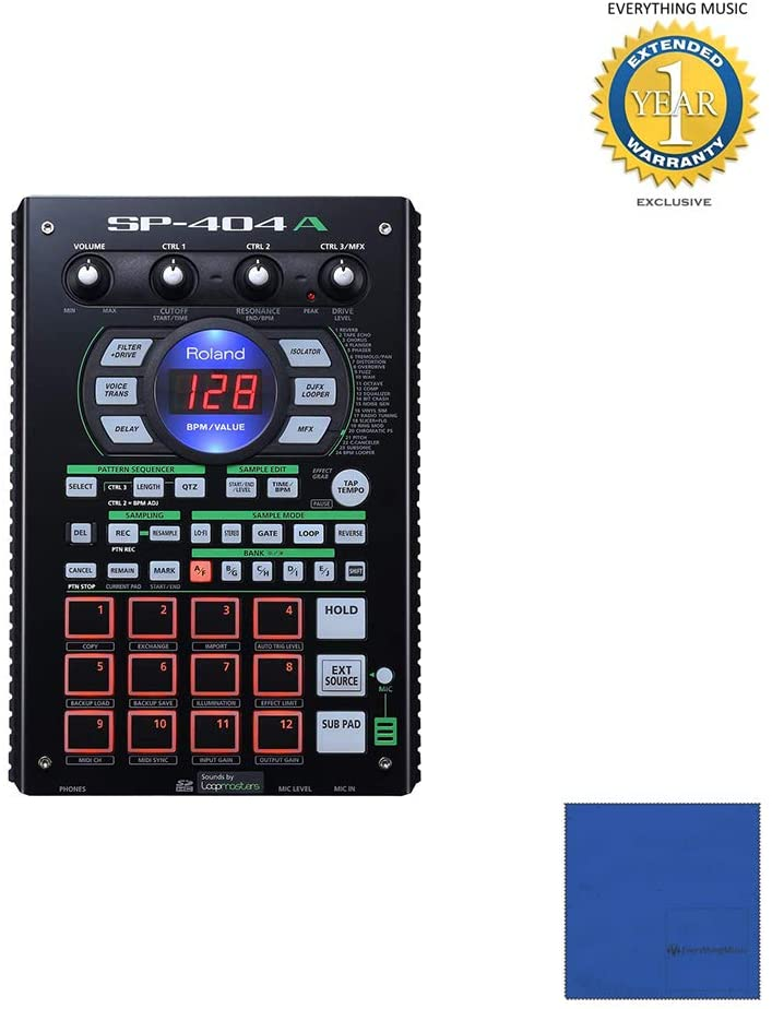 Roland SP-404A Linear Wave Sampler with Microfiber and 1 Year Everything Music Extended Warranty