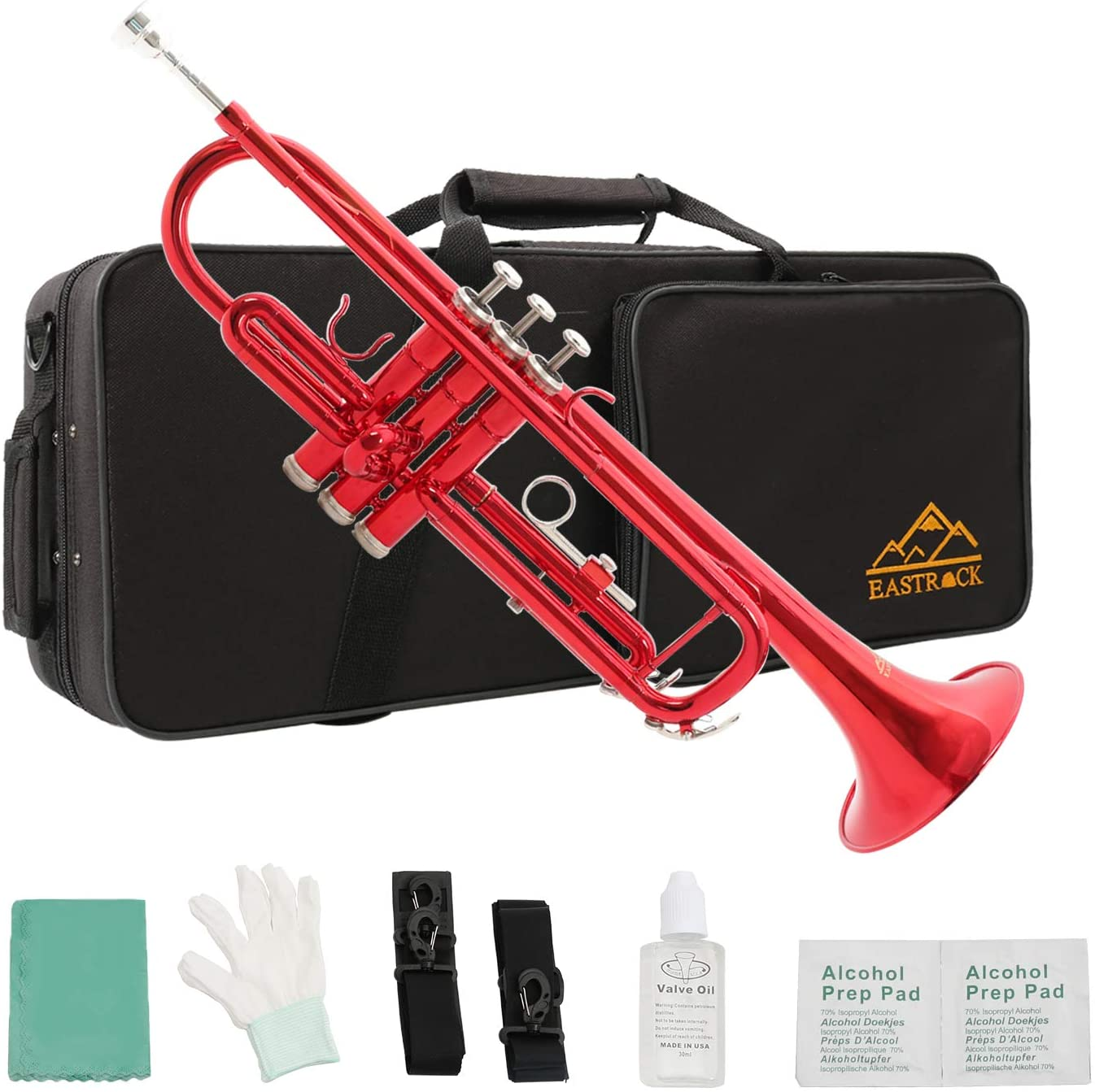 Eastrock Standard Brass Bb Trumpet for Student Beginner Brass Instrument with Hard Case, Gloves, 7C Mouthpiece and Trumpet Cleaning Kit (Red)