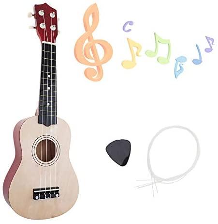 YiPaiSi 21 Inch Soprano Ukulele Beginner Pack, Ukulele Soprano Starter Kit, Hawaii Basswood Kids Guitar With String & Pick for Kids Students and Beginners (Wood)