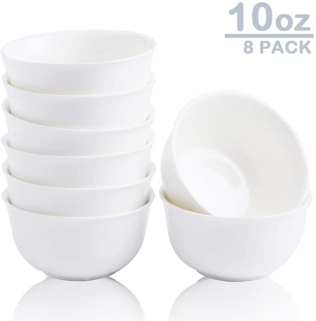 Zoneyila 10 Ounce Porcelain Serving Bowl Set, 8 Packs, Small bowl for Rice, Soup, Snacks, Anti Slip, White