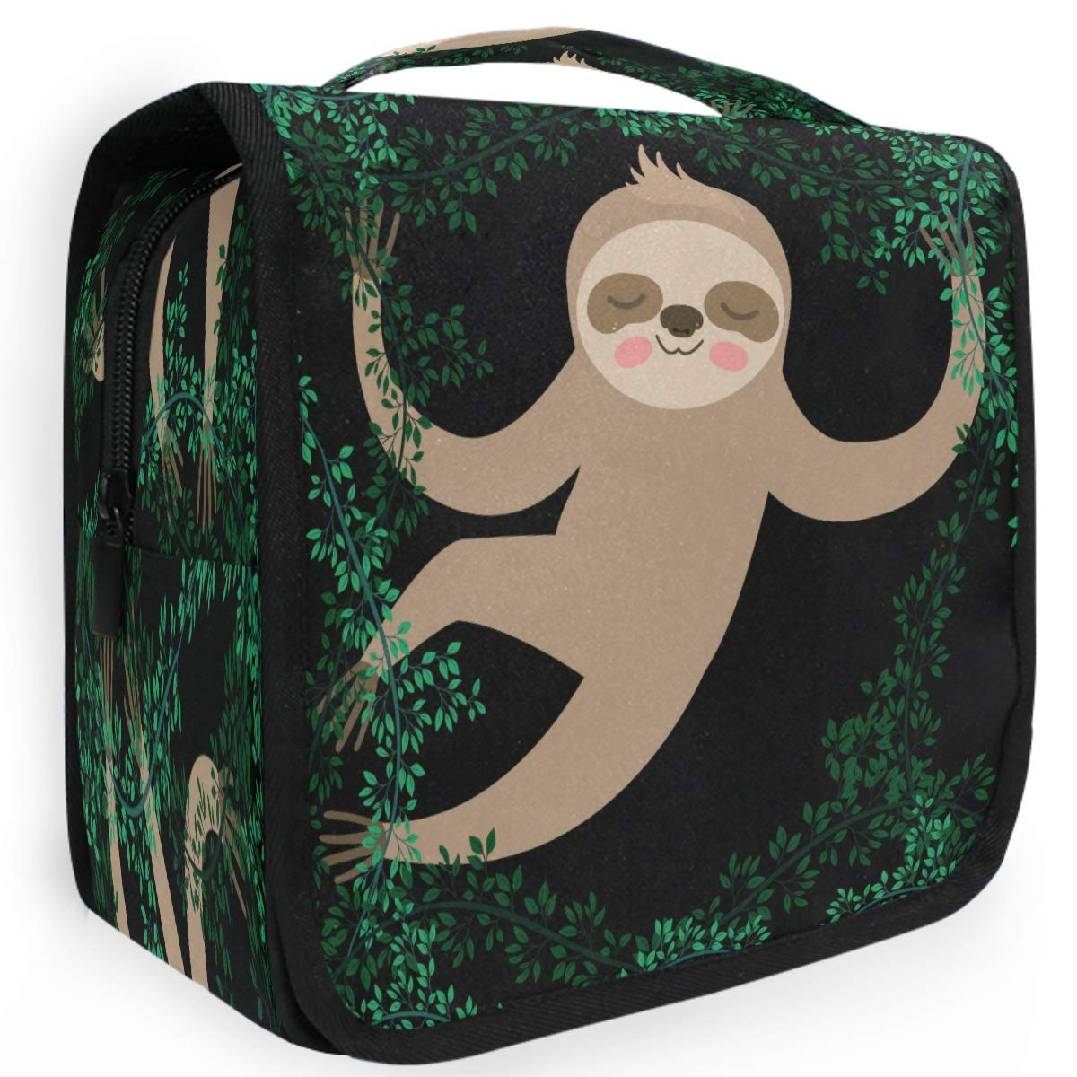 Olinyou Cute Sloth Tree Green Leaf Cartoon Animal Travel Toiletry Cosmetic Bag Hanging Shower Makeup Bag Pouch Portable Train Tote Case Organizer Storage For Women Girls