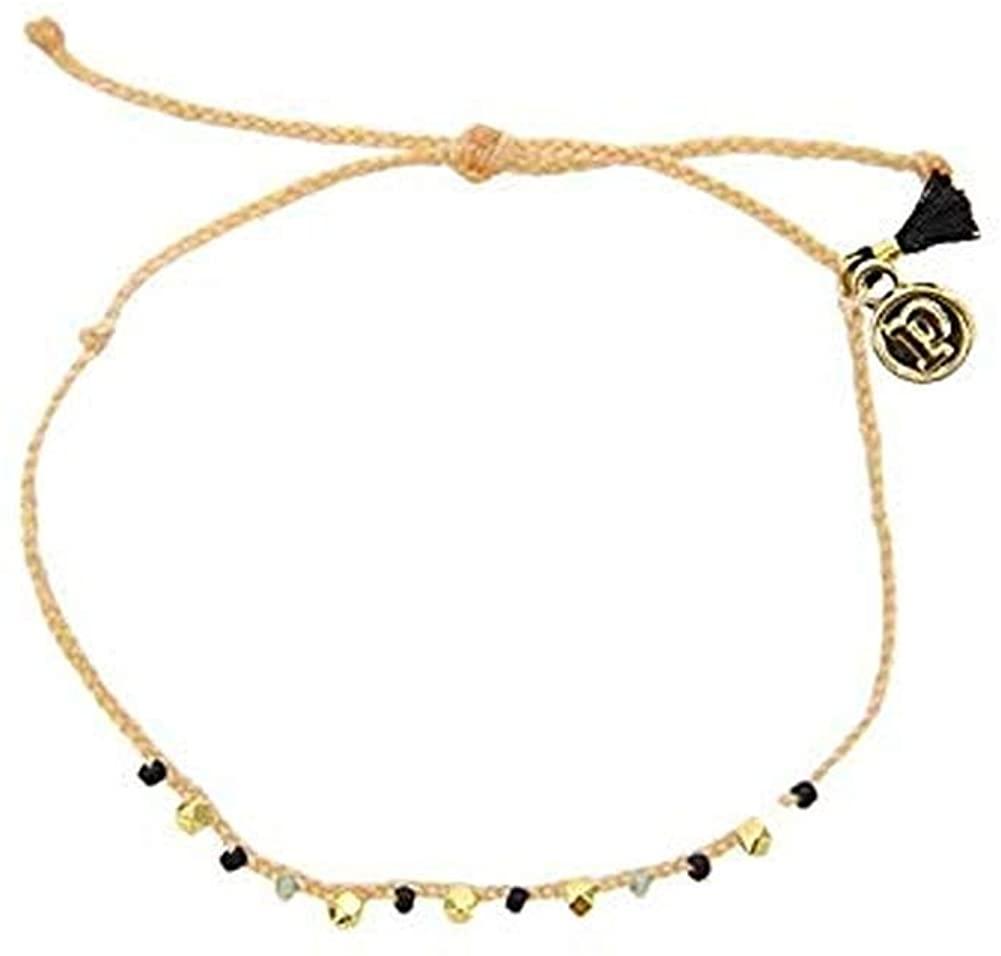 Pura Vida Gold Bead and Braid Bracelet-100% Waterproof and Handmade w/Coated Charm, Adjustable Band