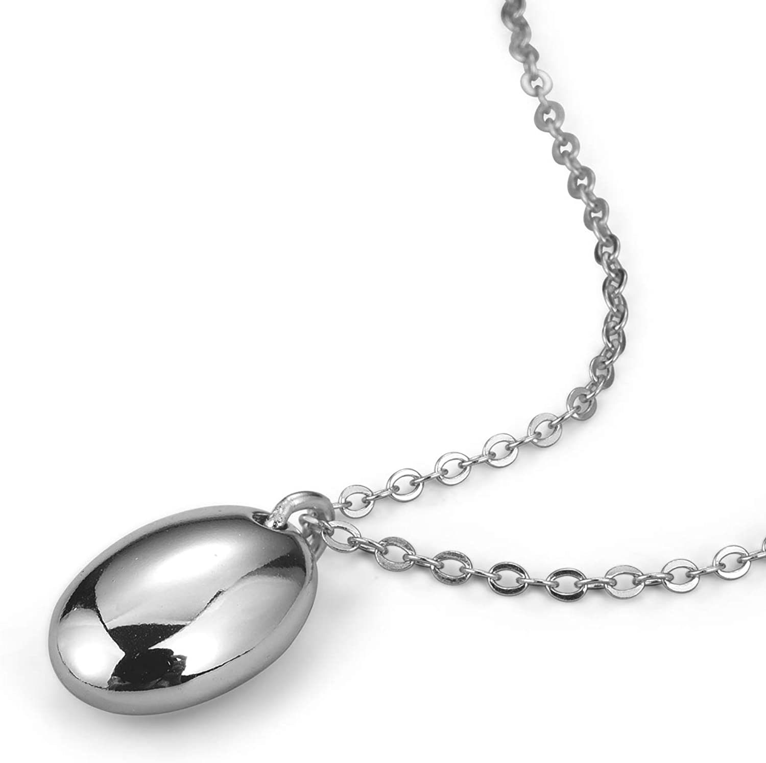 Lotus Fun S925 Sterling Silver Necklace Pendant Minimalist Geometric Glossy Oval Pendant with Necklaces Link Chain Length 42.5cm+7.5cm Jewelry for Women and Girls