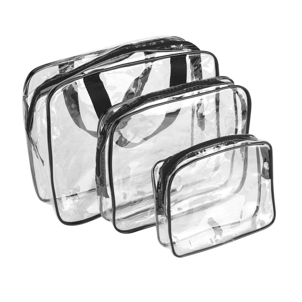 Clear Toiletries Bag - 3Pcs Luggage Pouch Cosmetic Bag PVC Travel Storage Waterproof Shower Wash Bags for Women Men Kids