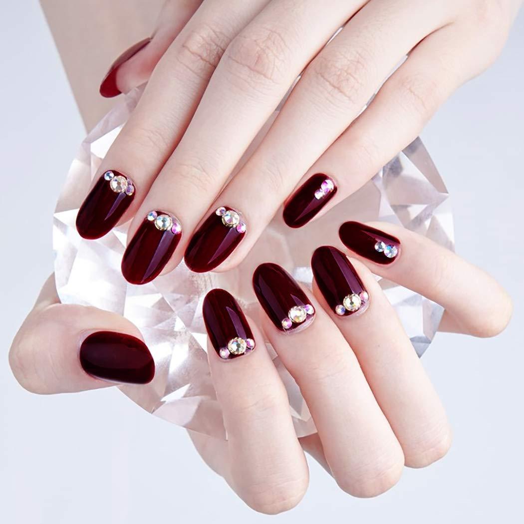 Sethexy Red False Nails Glossy Crystal Oval Medium Salon 24Pcs Acrylic Art Nail Tips for Women and Girls