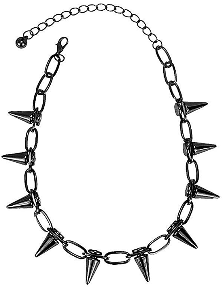 Cosplay Punk Spiked Orange Choker Necklace for Women Men Boys Heavy Black Chain Necklace