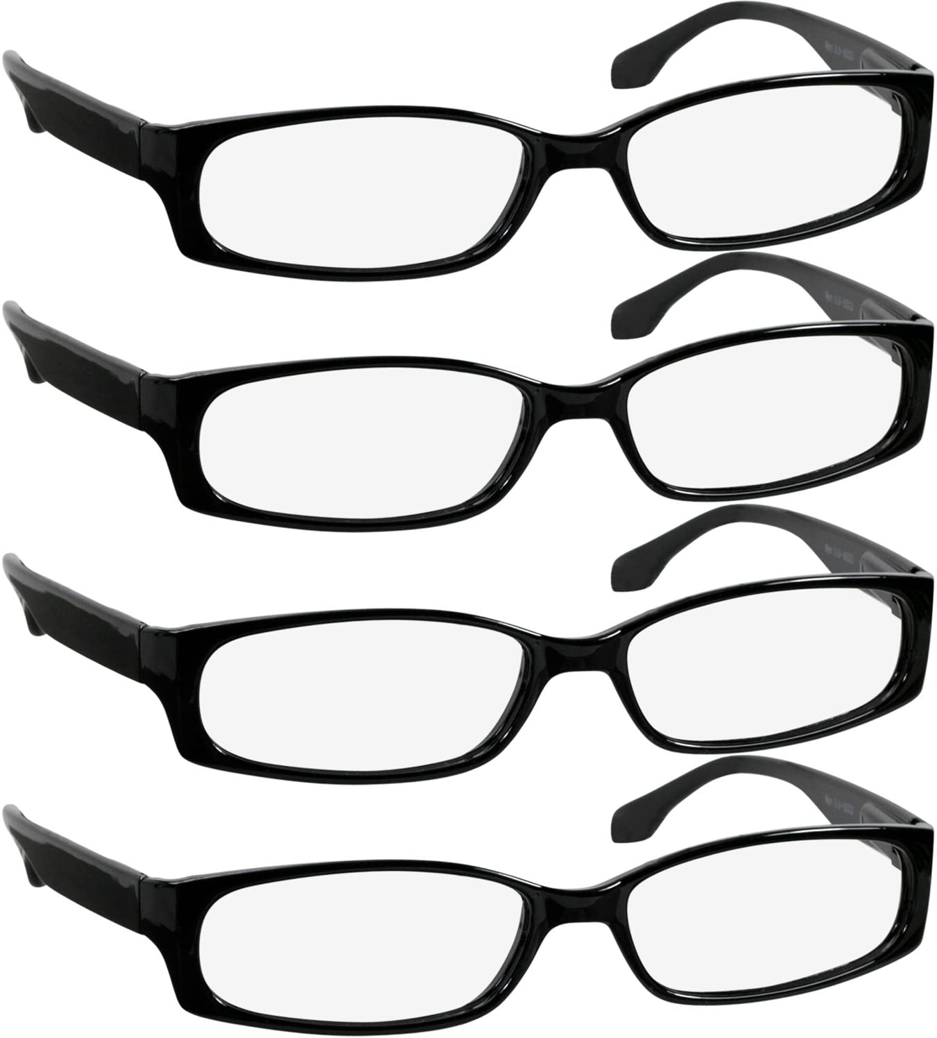 Reading Glasses 0.75 Best 4 Pack Black Readers for Men and Women Always Have a Stylish Look and Crystal Clear Vision When You Need It! Comfort Spring Arms & Dura-Tight Screws
