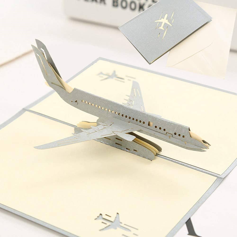 Longwu Airplane 3D Pop Up Blessing Cards Thank Cards Creative Greeting Cards Father's Day Cards Back to School/Graduation Congratulations Cards for Boys Kids