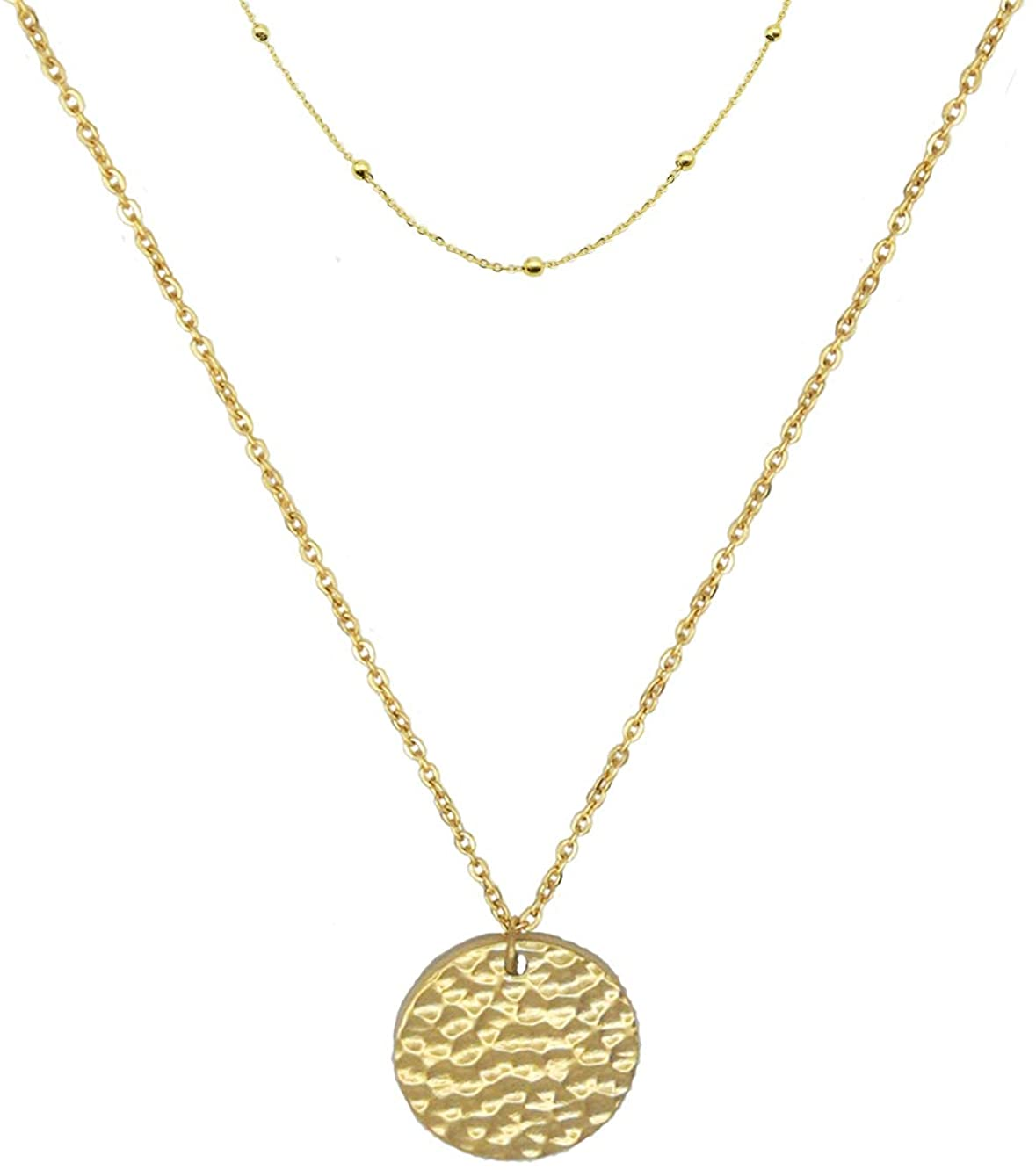 QHTX Gold Bar Necklace Stainless Steel Gold Plated Adjustable Chain with Pendant for Women Girls Simple Delicate Handmade Personalized Jewelry(16+2 Inch)…