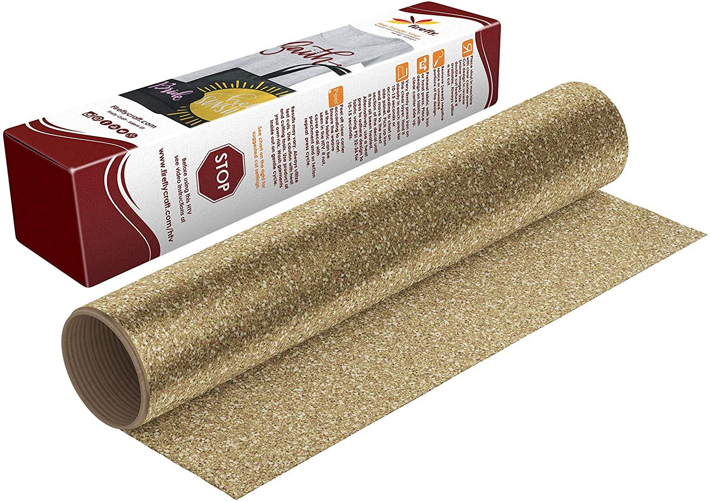 Firefly Craft Glitter Gold Heat Transfer Vinyl Sheet | Glitter Gold HTV Vinyl | Gold Glitter Iron On Vinyl for Cricut and Silhouette | Heat Press Vinyl for Shirts - 12