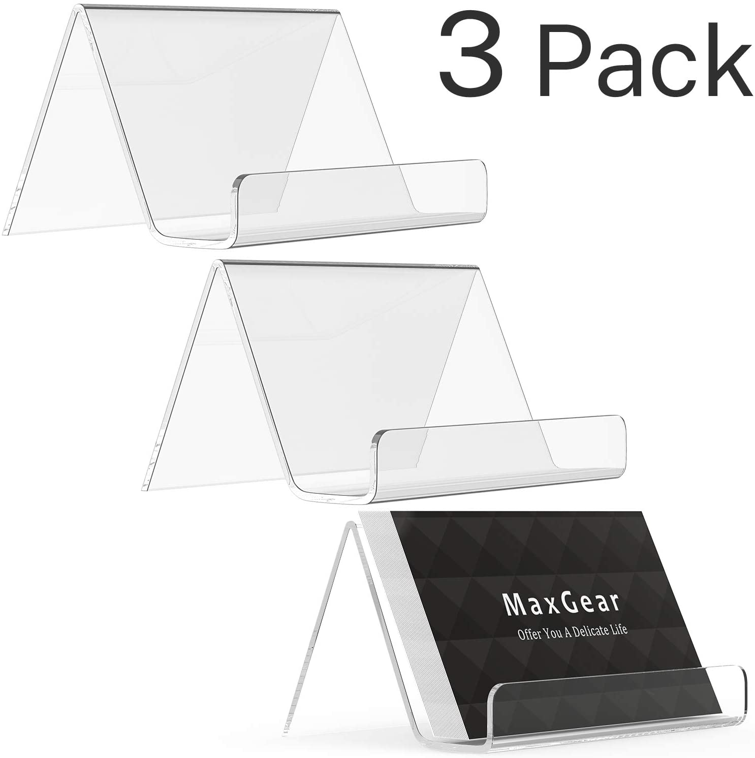 MaxGear Business Card Holder for Desk Acrylic Business Card Display Holders Clear Business Cards Holder Stand 3 Pack Desktop Plastic Name Card Organizer, Capacity: 50 Cards