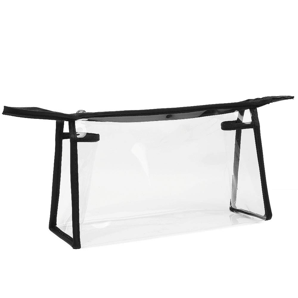 Cambond Clear Makeup Bag, TSA Approved Clear Toiletry Bag Clear Cosmetics Bag with Zipper, Carry on Airport Airline Compliant Bag for Travel, Bathroom and Organizing (Black)