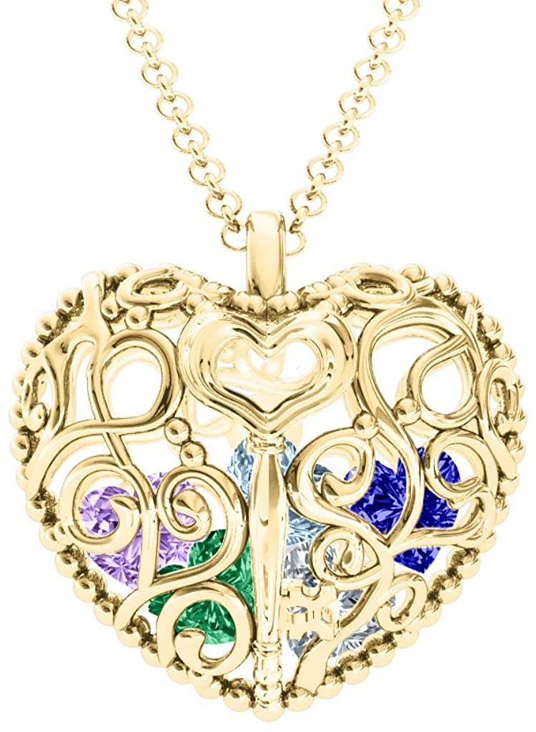 10K Gold Filligree Lock & Key Heart Cage Pendant with Personalized Birthstones by JEWLR