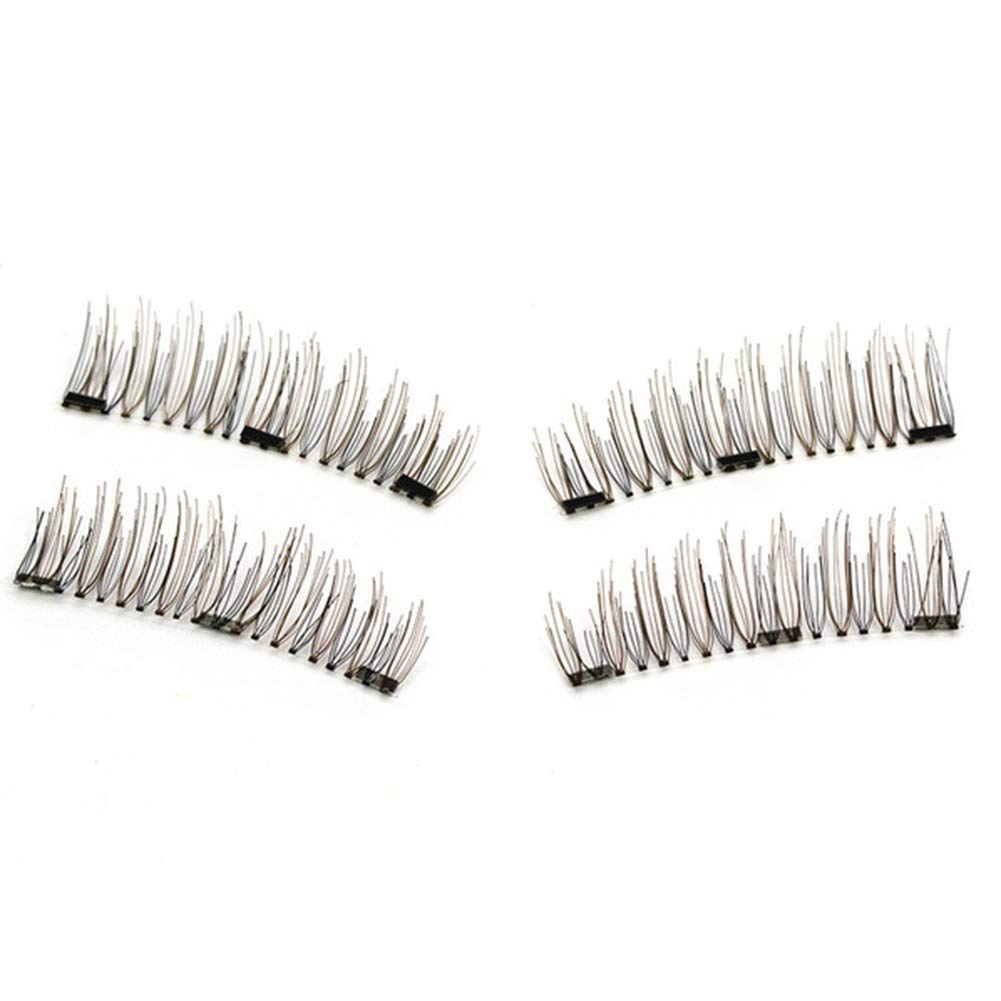 Brattie 3D Magnetic False Eyelashes, Handmade Natural Thick Grafting Lashes with Tweezers 4# B