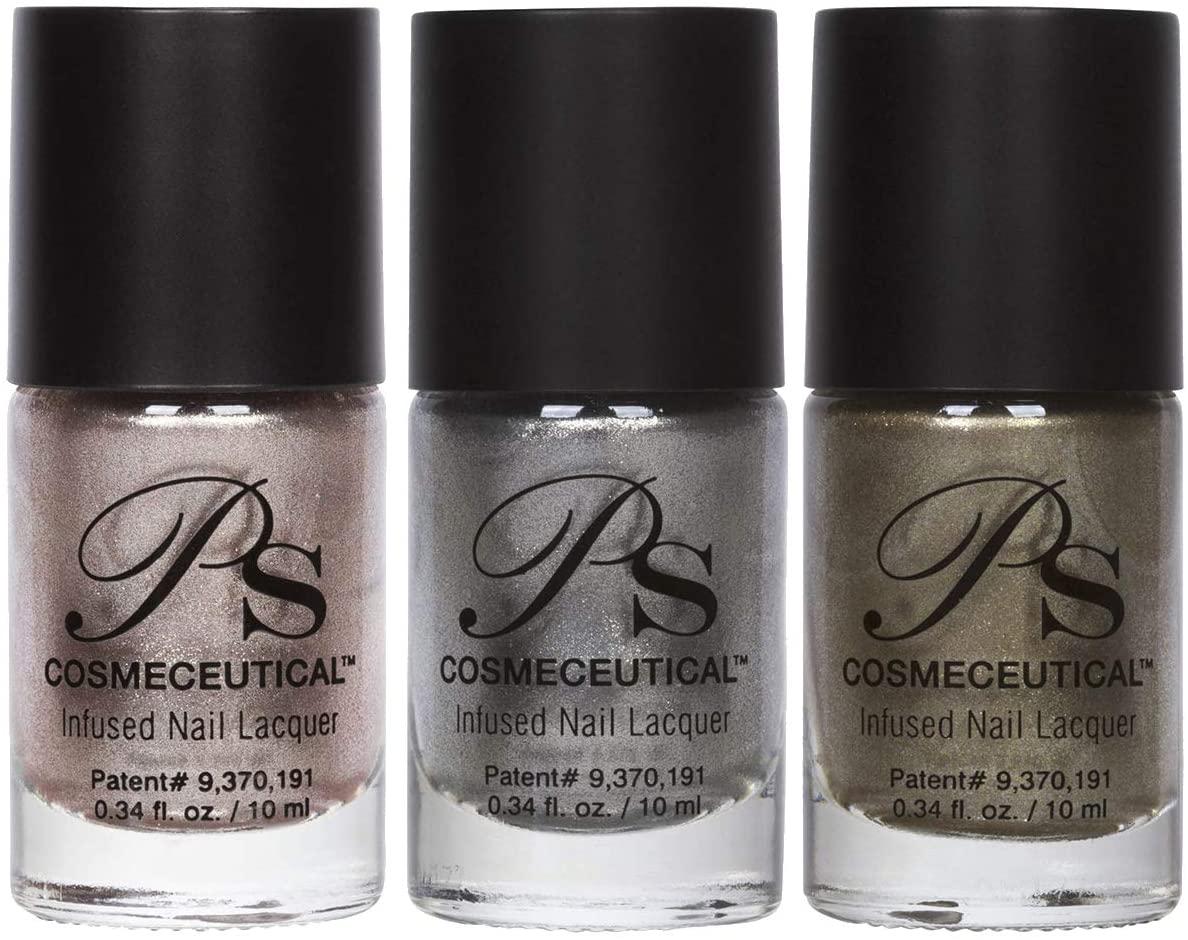 PS Polish Metallic Collection Nail Polish - All Natural Non-Toxic Professional Grade Nail Art and Lacquer Nail Polish, Beige Nail Polishes for Manicure, Pedicure, Hands, 3 Pack (Ice, D'or, Champagne)