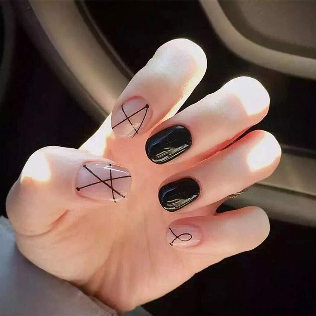 Eollan Glossy Press on Nails Black Short Square Stripe Fake Nails Full Cover Acrylic False Nails Tips for Women and Girls 24PCS