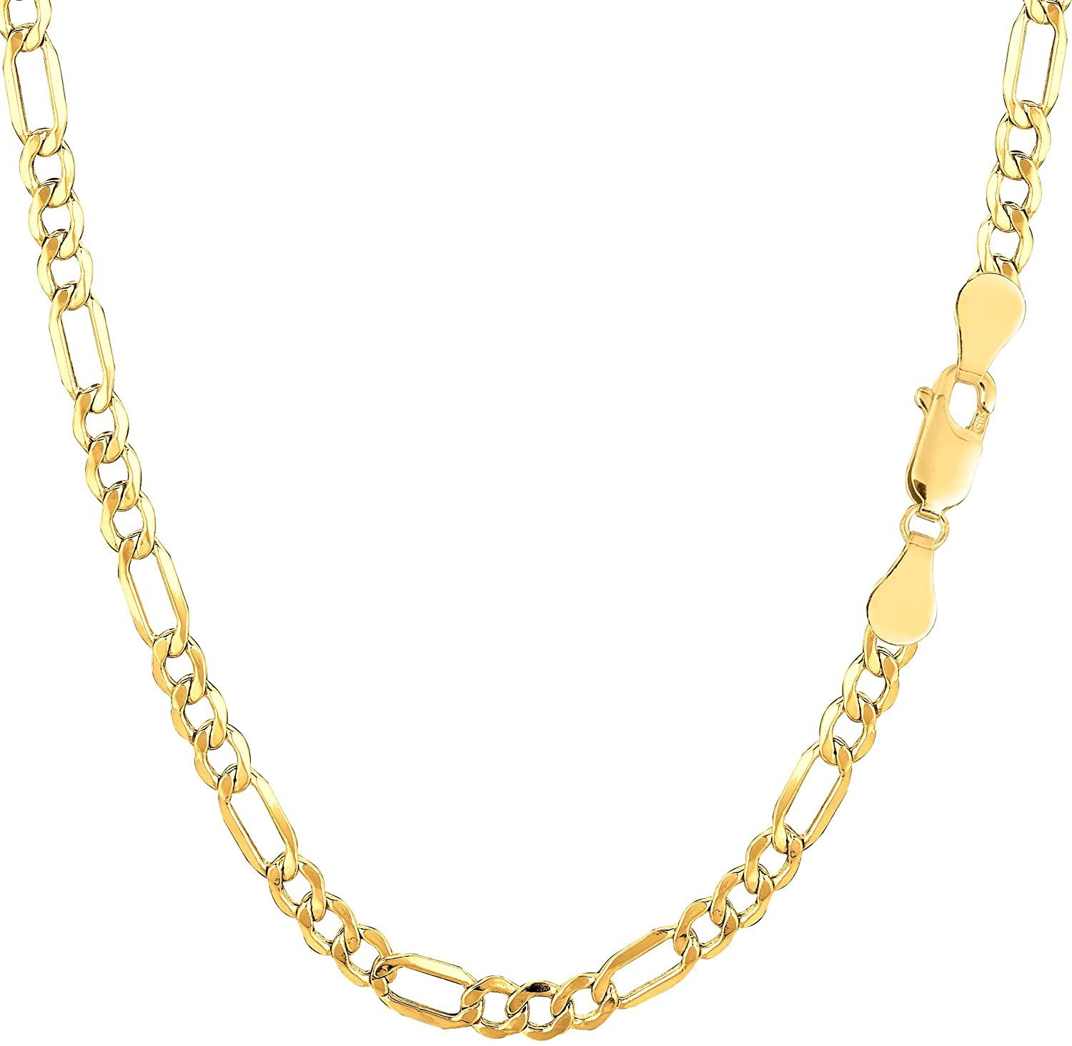 10k Yellow Gold Hollow Figaro Chain Necklace, 3.5mm
