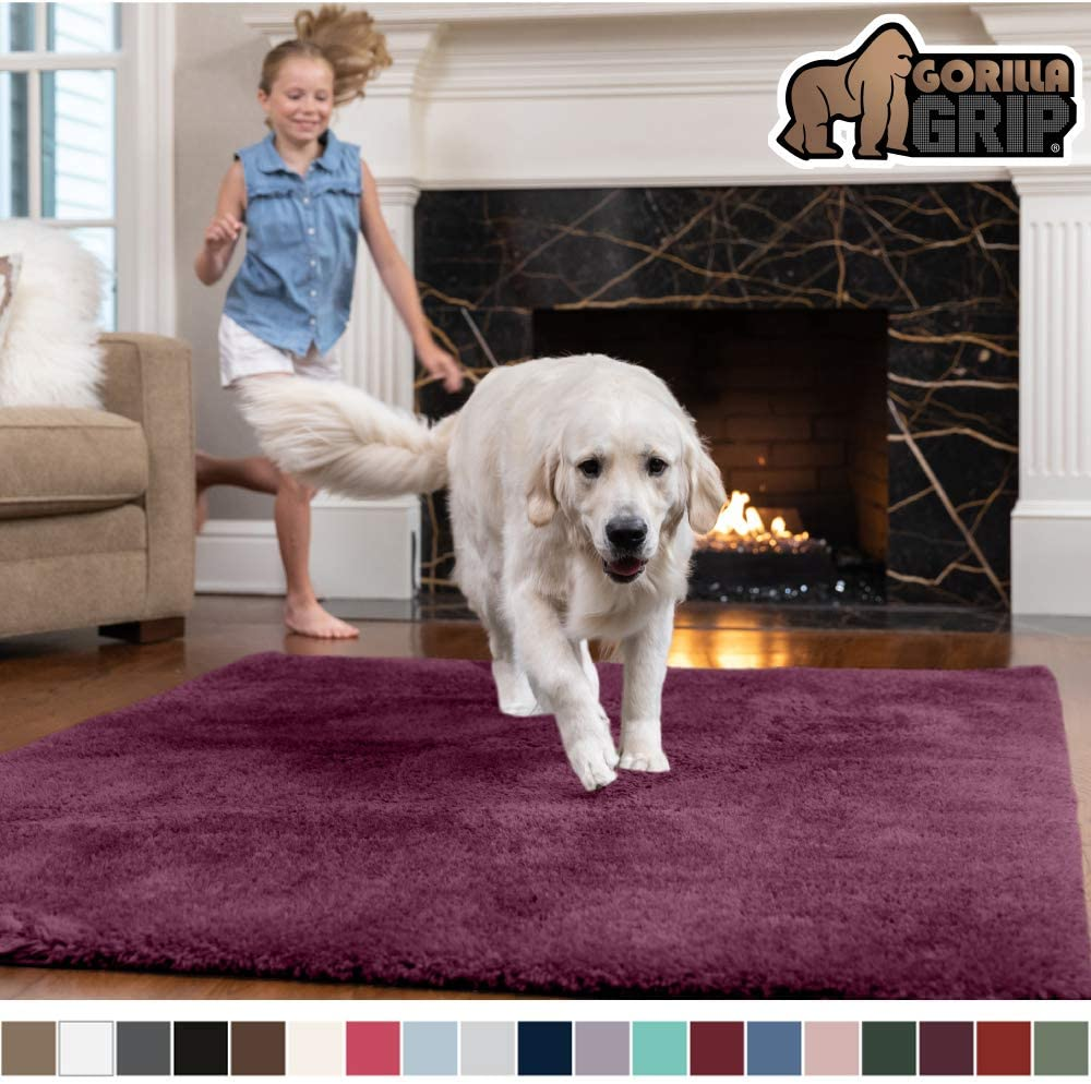 Gorilla Grip Original Faux-Chinchilla Area Rug, 5x7 Feet, Super Soft and Cozy High Pile Washable Carpet, Modern Rugs for Floor, Luxury Shag Carpets for Home, Nursery, Bed and Living Room, Plum