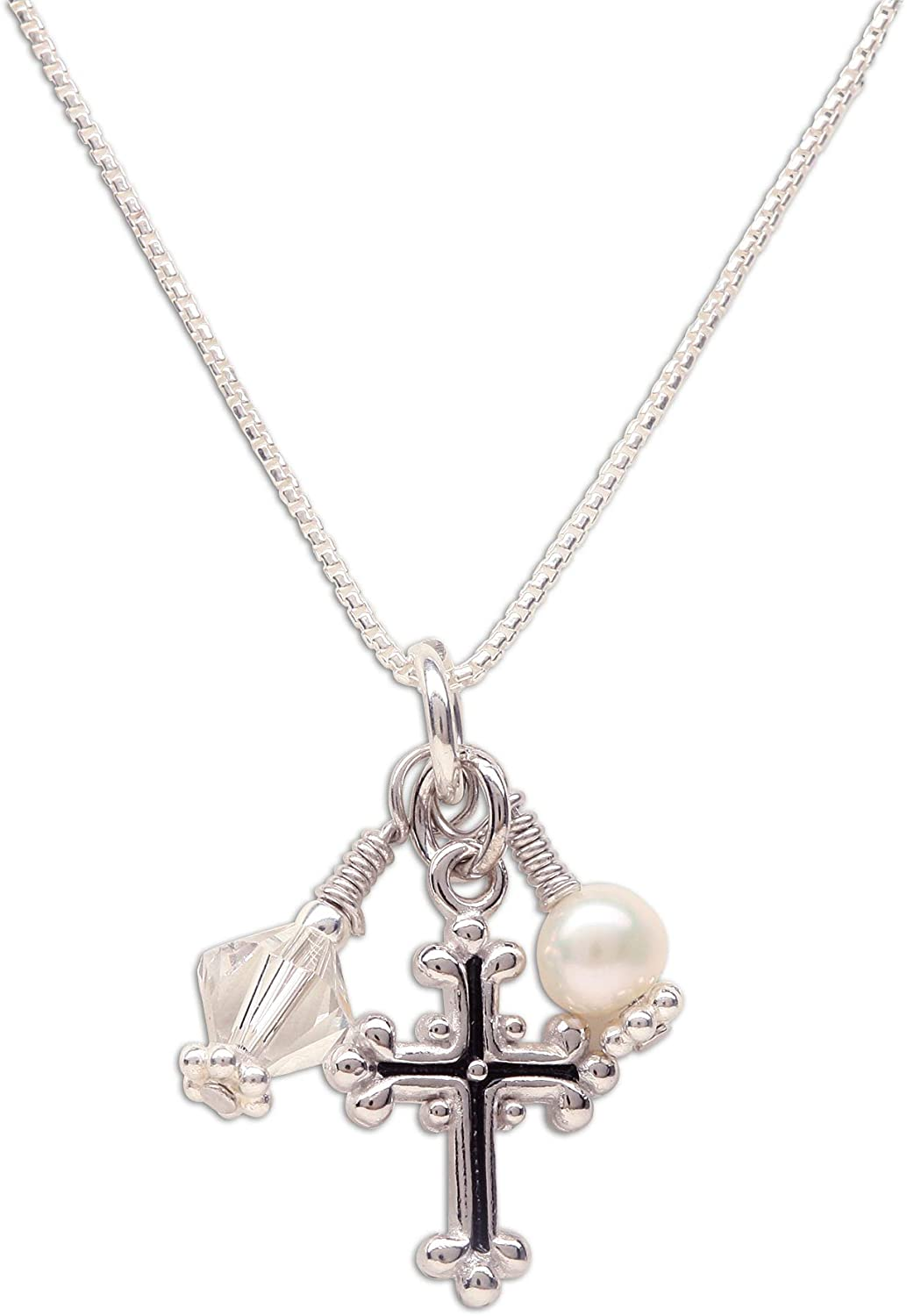 Girl's Sterling Silver First Communion Swarovski-Created Birthstone Cross Necklace with Cultured Pearl
