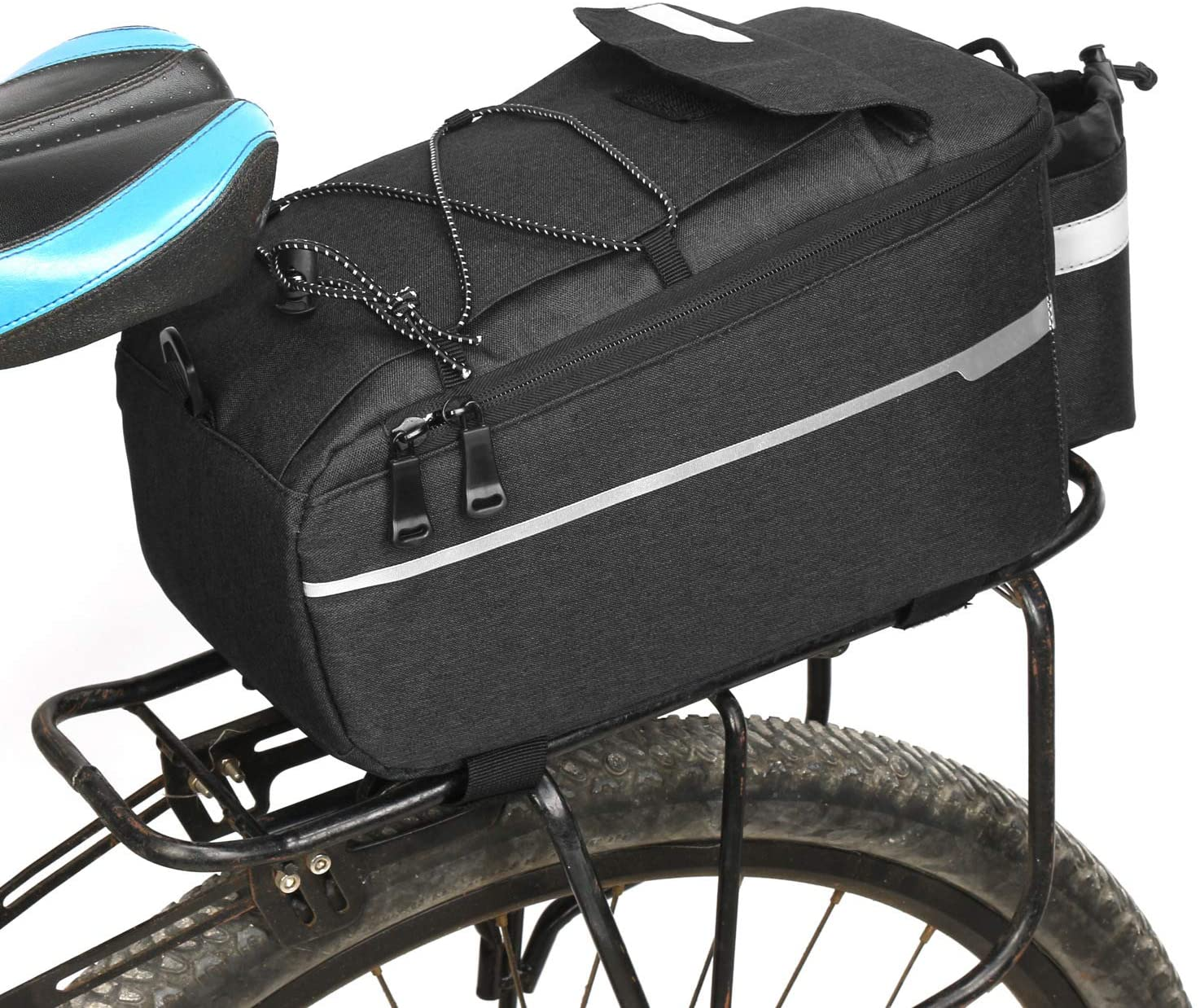 TecHong Bike Back Seat Bag - Bicycle Waterproof Rack Storage Pannier, Large Capacity Cycling Accessories Tool Store Trunk Pack for Road Mountain Bike Riding