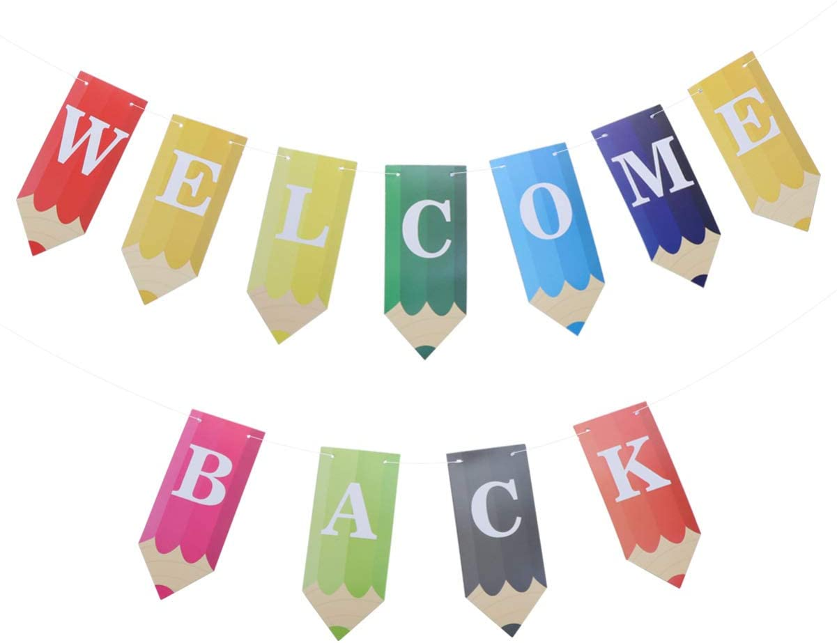 Amosfun Welcome Back Banners Pencil Banner for Classroom for First Day of School Teacher Kindergarten Decoration