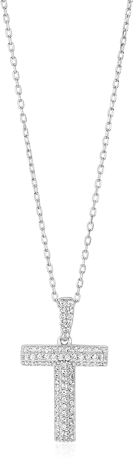 UNICORNJ Sterling Silver 925 Initial Pendant Necklace with Pave CZ Letter 17