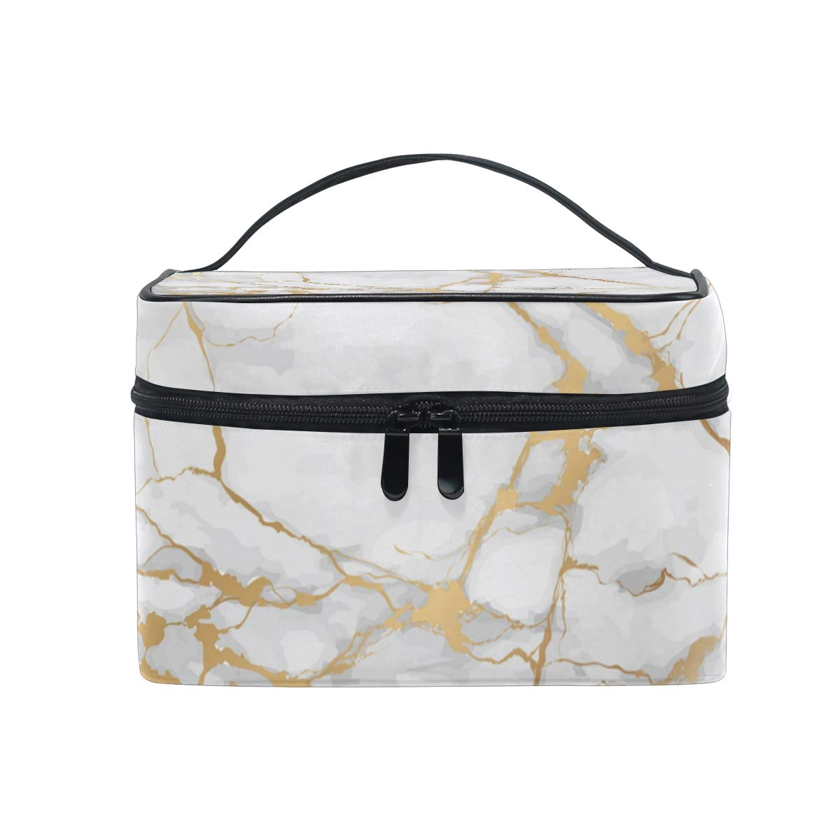 Makeup Bag Square Cosmetic Marble Stripe Train Case Portable Travel Toiletry Bag Organizer Accessories Case Tools Case for Beauty Women