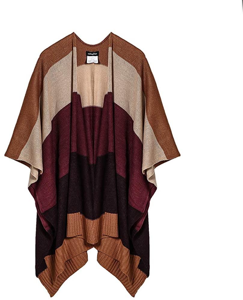 Siyimue Super Soft Fashion Fine Knit Stripe Women Poncho Big Shawl Knit Ruana Open Cardigan