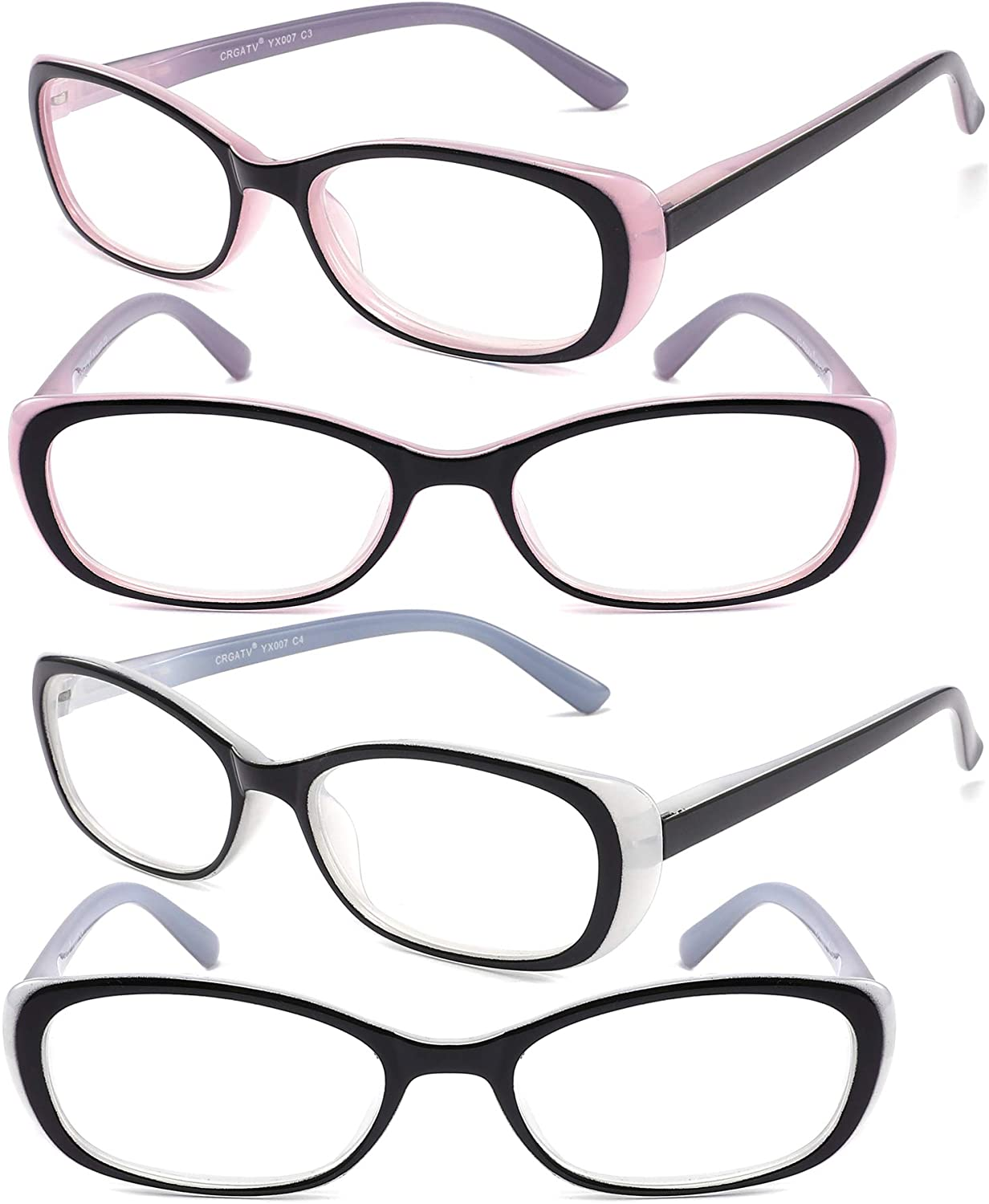 CRGATV 4 Pairs Ladies Reading Glasses Fashionable Quality Glasses Bright-Coloured Readers with Spring Hinge Designed for Women
