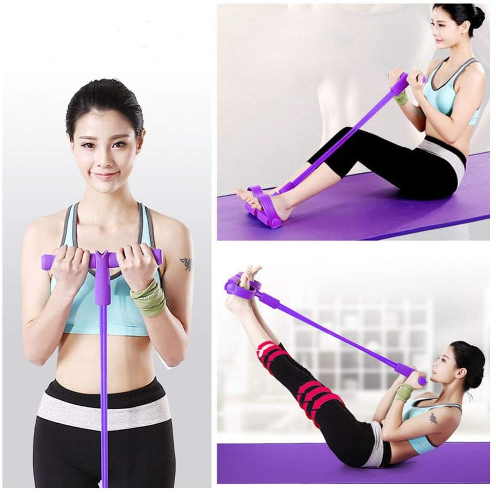 zhihui Pedal Resistance Bands,Elastic Sit Up Rope,Multi-Function Tension Rope, Bodybuilding Equipment,4 Tube Pedal Resistance Band for Abdomen/Arm/Yoga Stretching Slim Training