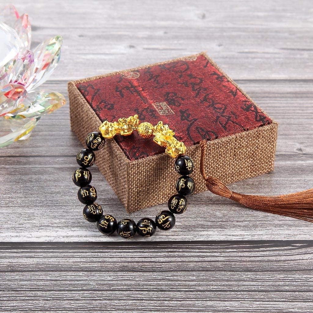 MDLUU Feng Shui Bracelet, 12mm Bead Bracelet with Double Gold Plated Pi Xiu, Amulet Bracelet Inscribed Sanskrit Mantra, Attract Good Luck, Wealth, Health