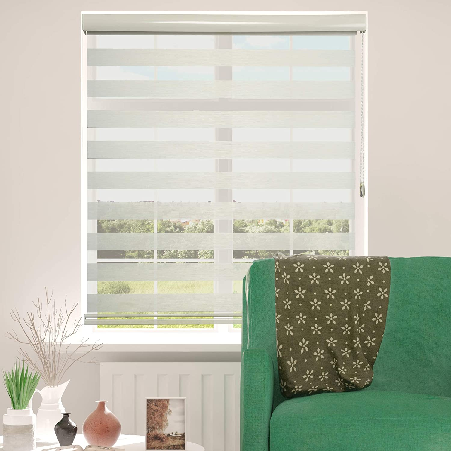 ShadesU Cream Color Zebra Dual Layer Roller Sheer Shades Blinds Light Filtering Window Treatments Privacy Light Control for Day and Night (Maxium Height 72inch) (21 inch Width)