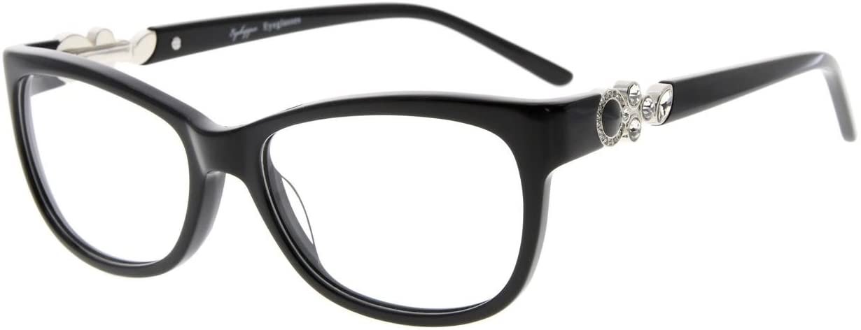 Eyekepper Acetate Frame Womens Eyeglasses Cat-Eye Glasses, Black