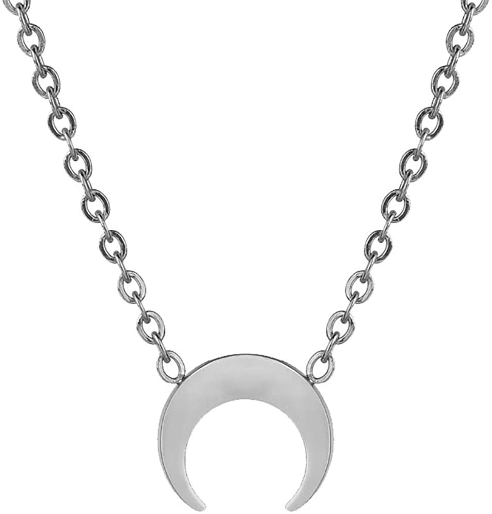 Women's Fashion Lightweight Surgical Stainless Steel Mini New Moon Clavicle Chain Necklace