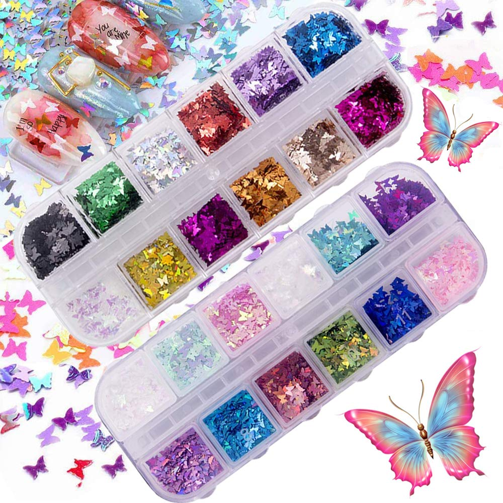 24 Color Butterfly Nail Glitter Sequins,AWECOT 3D Butterfly Nail Sequin Acrylic Paillettes,Laser Butterfly Decals for Women Girls Decoration Nail Art Design