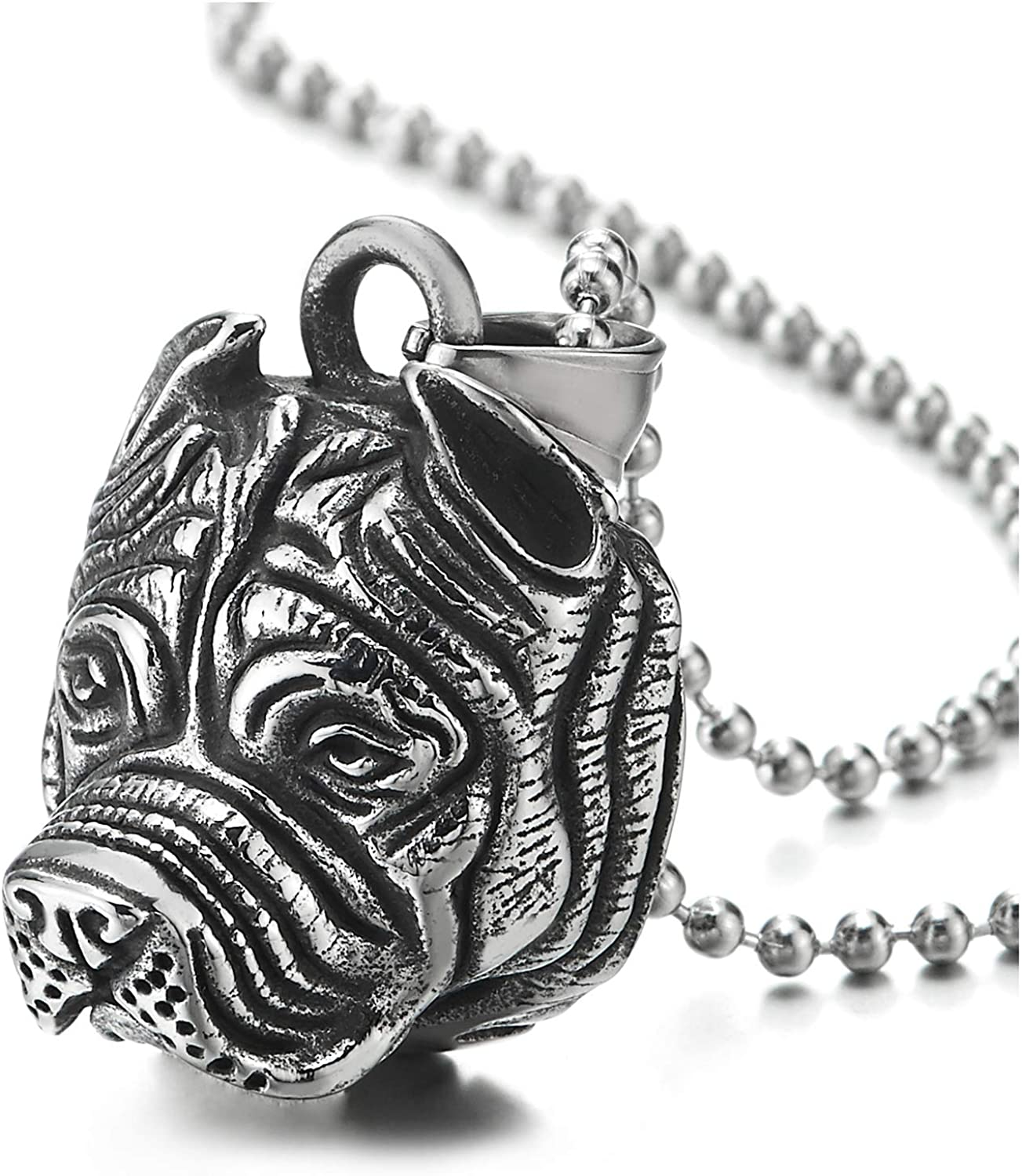 Mens Womens Stainless Steel Vintage Pit Bull Bull Dog Head Pendant Necklace with 30 in Ball Chain