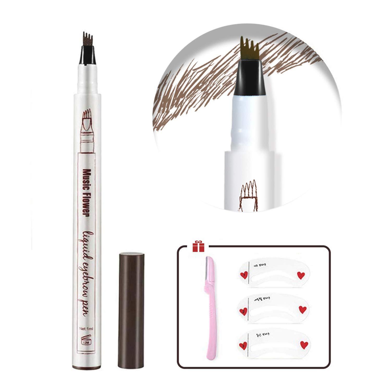 Eyebrow Pen,Eyebrow Tattoo Pen Tat Brow Microblading Eyebrow Pencil Eyebrow Tint Pen with 3 Eyebrow Stencil,1 Eyebrow Razor For Women