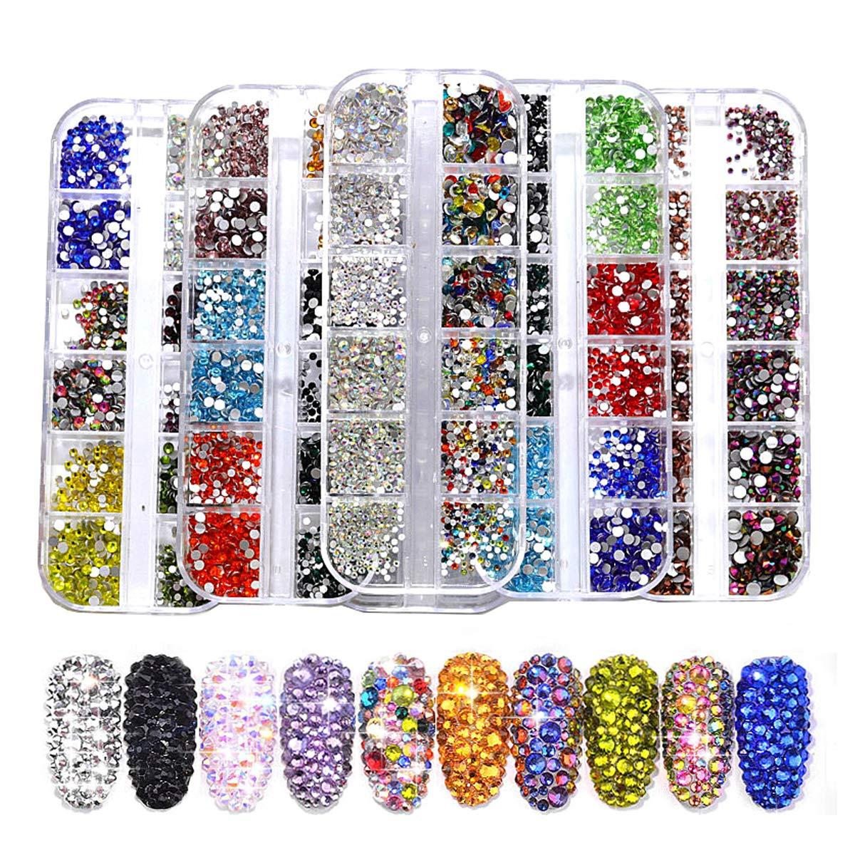 BLINGINBOX Nail Art Rhinestones 3300pcs Multi-size Glass 2 Boxes Mixed Colors Flatback Crystal Strass Charm Gems Manicure Nail Art Decorations(Set 6)