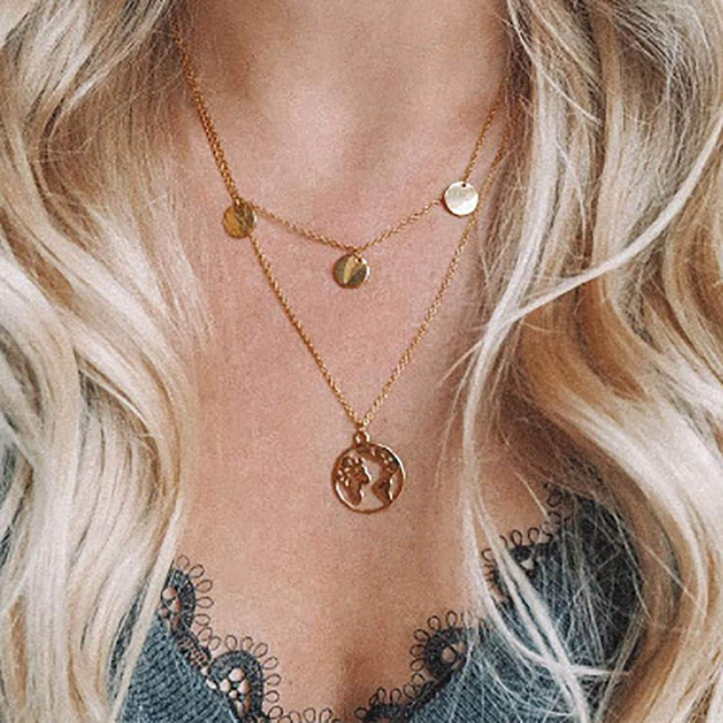 Morebrave Boho Layering Necklace Chain Gold Coin Pendant Necklaces Jewelry for Women and Girls