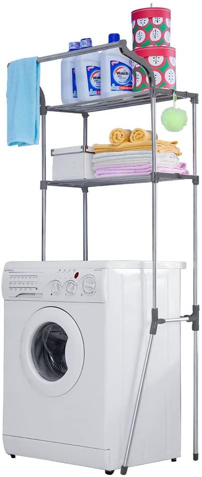 Baoyouni Bathroom Space Saver Over The Toilet Storage Rack Shelf Above Washing Machine Standing Organizer 2-Tier 26.77 W X 19.48 D X 68.11 H Inches, Grey