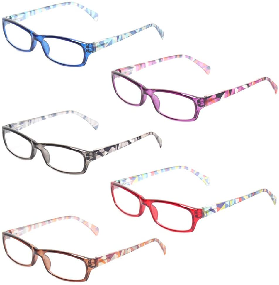 Computer Glasses - Anti-Blue Glasses - 5-Pack Blue Light Blocking Reading Glasses for Women (5 Pack Mix Color, 1.50)